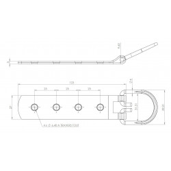 Attelle 4 trous - 90 kg - Attelles, anneaux, attaches