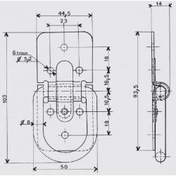 Anneau d'élingage sur platine - 6 trous - 90 kg - Attelles, anneaux, attaches