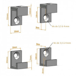 Fixation pour miroir en L - Panneaux / verres