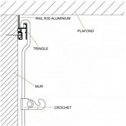 Rail accrochage mural R30 longueur 200 cm - Accrochage par câbles